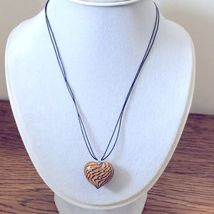 Puffy Glass Tiger Print Heart Leather Cord Necklac